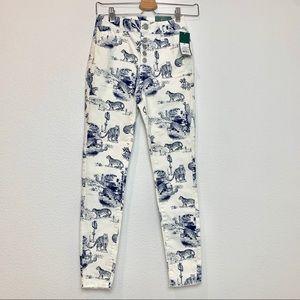 Women's tiger roar blue & white jeans